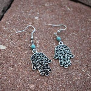 BOHO Hamsa Silver Earrings